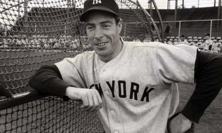 In the first game of a twin bill at the Bronx ballpark, Joe DiMaggio hits three consecutive triples. The Yankee Clipper's offensive outburst helps the Bombers edge Cleveland, 8-7.