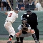 Carl Yastrzemski drives in five runs, hitting two homeruns and hitting for the cycle with
