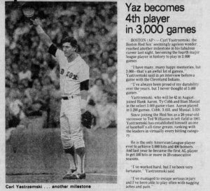 Yaz becomes just the 4th player ever to appear in 3,000 games