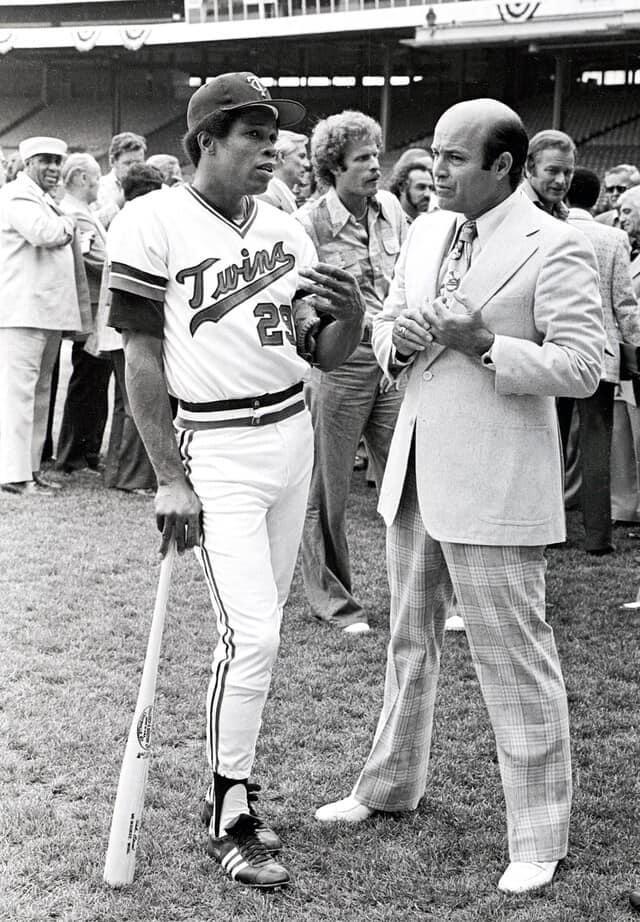 Minnesota Twins' Rod Carew, left, and Joe Garagiola at the 1975 All-Star Game in Milwaukee.