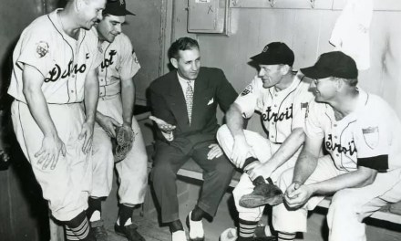 '51 Tigers Jerry Priddy, Aaron Robinson, GM Charlie Gehringer, manager Red Rolfe and Dizzy Trout.