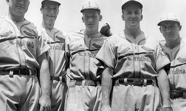 Cardinals Johnny Mize, Curt Davis, Lon Warneke, Terry Moore and Pepper Martin