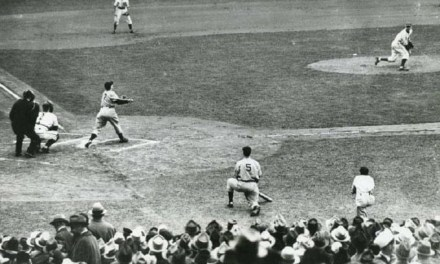 Dizzy Dean pitching for the Cubs gets Yankees' Tommy Henrich to pop up in Game 2 of 1938 World Series at Wrigley Field. Joe DiMaggio on deck.