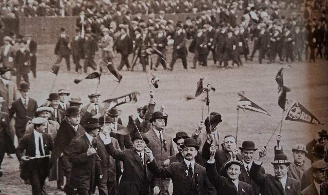 Fans parade around Fenway Park before the World Series