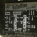 Scoreboard at Shibe Park - May 15th, 1956 Third base players don't like the glare from the new electric scoreboard