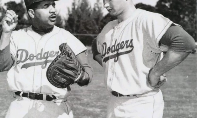 Campy teaching Sandy a thing or two during Spring Training 1955.