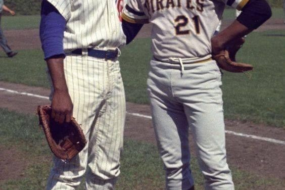 Ernie Banks and Roberto Clemente at Wrigley Field, 1960s.