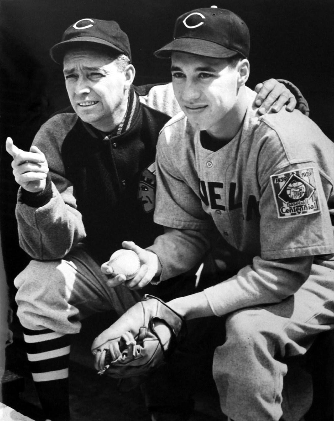 Bob Feller with manager Ossie Vitt