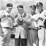 former President Dwight Eisenhower jokes with the Angel players