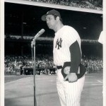 """April 13, 1971 - Thurman Munson addresses the crowd after receiving his """"Rookie of the Year"""" award."""