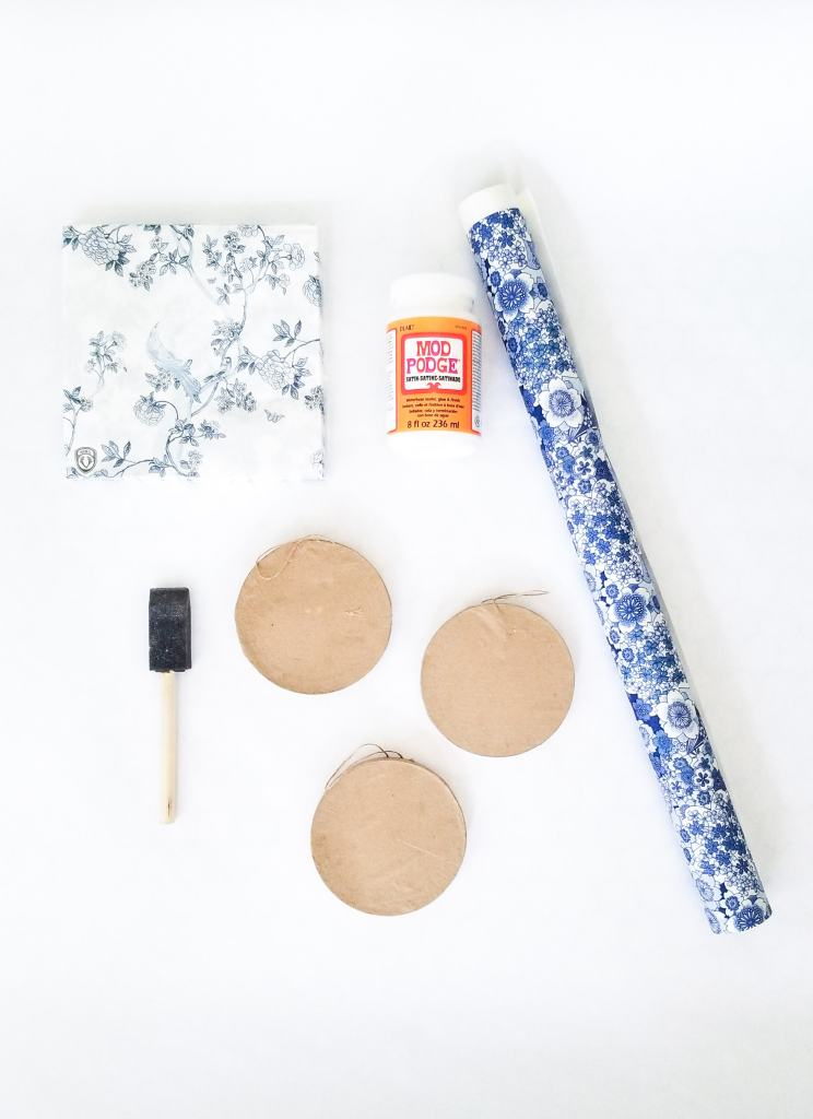 materials to make blue and white diy grand millenial style ornaments