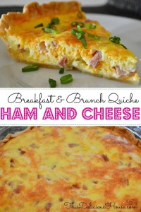 Ham and Cheese Quiche is an easy make-ahead healthy breakfast brunch egg recipe! Made with pie crust, ham, cheddar, and eggs, this can be frozen ahead. Great for baby showers, brunches, bridal showers, Christmas Morning, and Easter. #weekdaybreakfast #breakfast #brunch #hamandcheese #eggs #quiche #piecrust #ChristmasMorning #easyrecipe #healthy #parenting #kidsfood