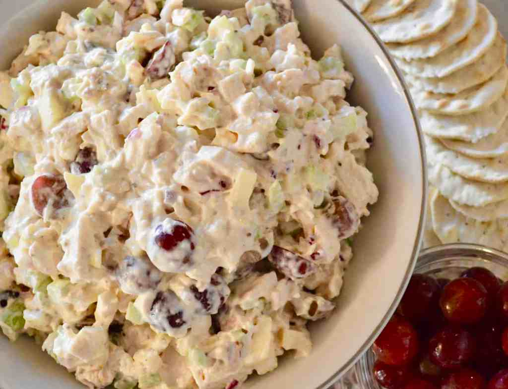 Rotisserie Chicken Salad with Grapes and Apples served with crackers