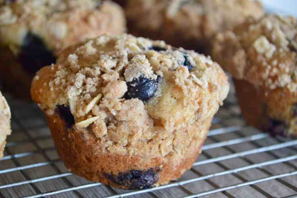 Blueberry Streusel Muffin cooling on a wire rack