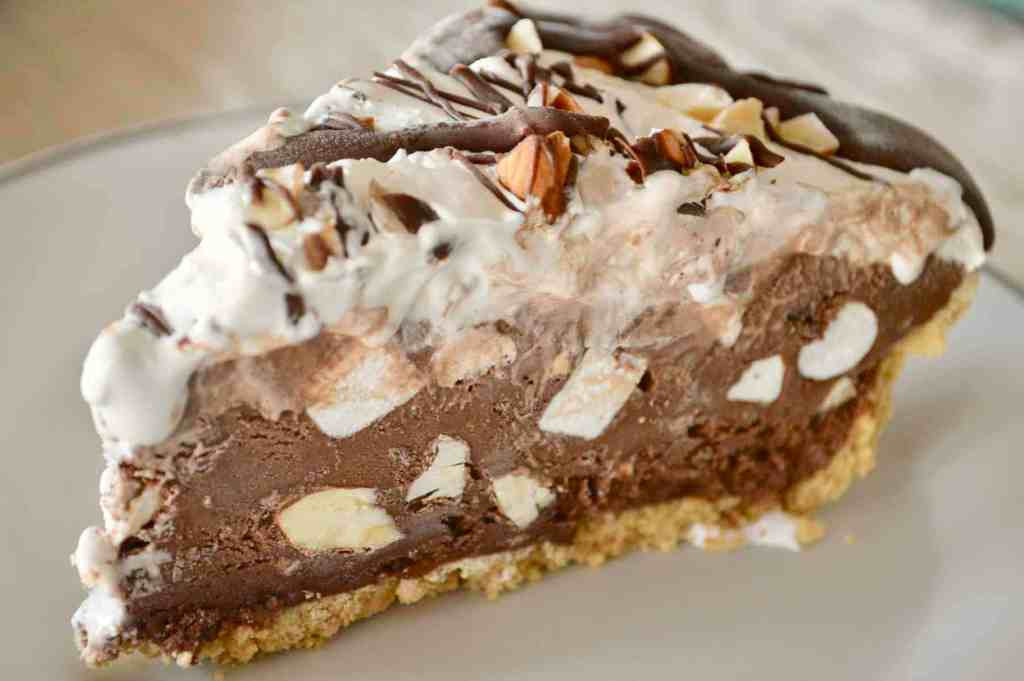 Rocky Road Ice Cream Pie on a white plate