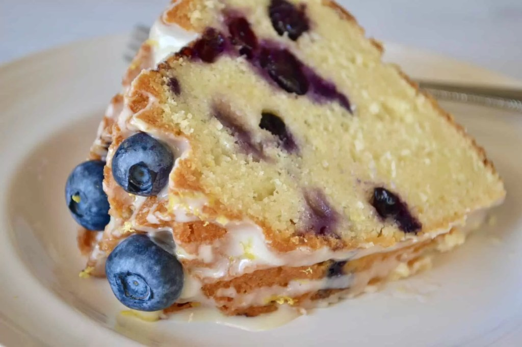 blueberry lemon bundt cake make in a jubilee cake pan from NordicWare