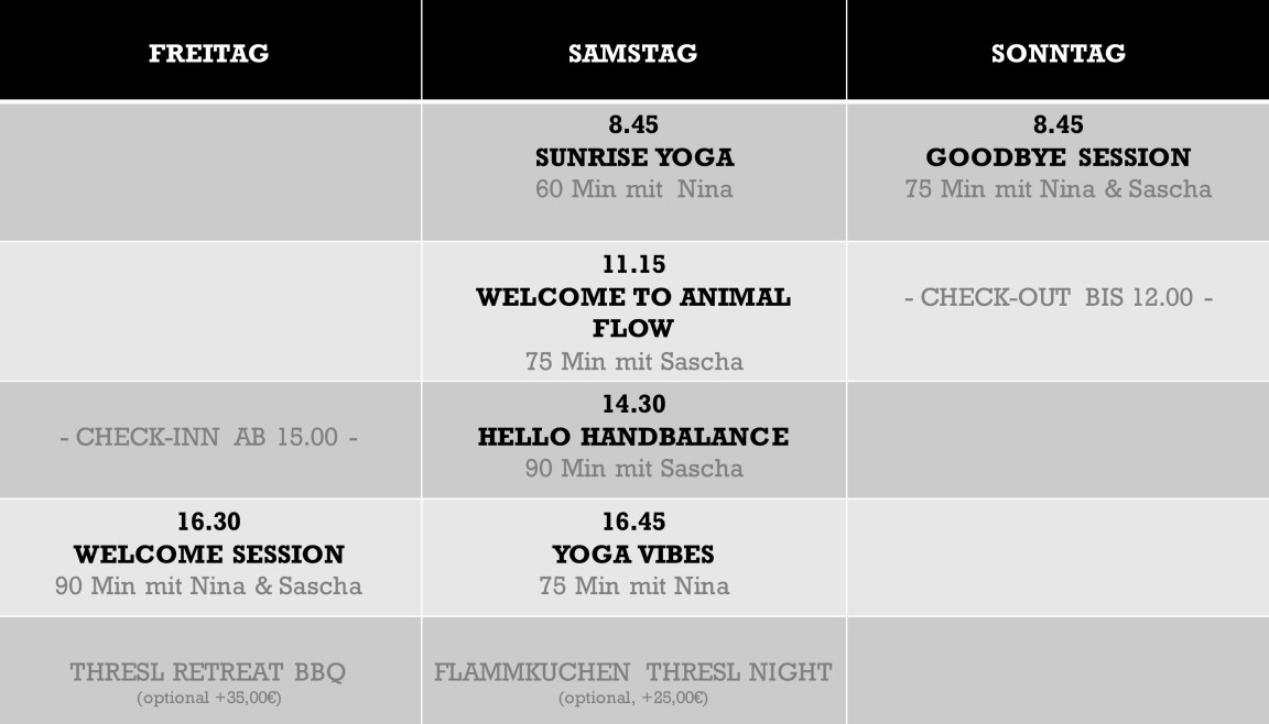 Animal Flow & Yoga Vibes in den Bergen - Kursplan!