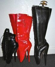 Ballet boots - black pvc, red pvc, black leather