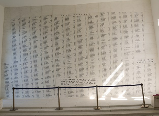 Names of sailors and marines killed in the attack on Pearl Harbor.