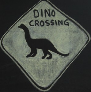 Dino Crossing Sign drawn with chalk