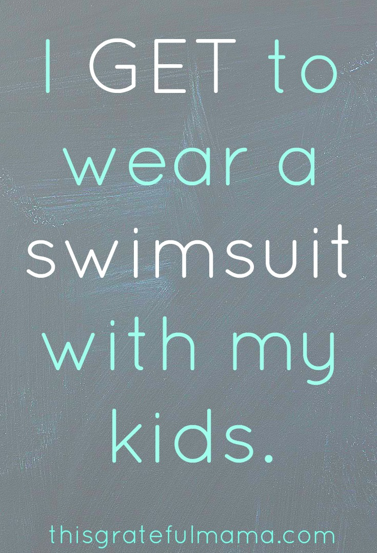thisgratefulmama.com | It is a privilegee to squeeze into a swimsuit and wear it to play in a pool with our kids (even if it take a while to find one that stays where it is supposed to stay). #mom #bodyimage #perspective #summer #swimming #swim #swimsuit #momlife #live #fun #justdoit #kids #children #momproblems