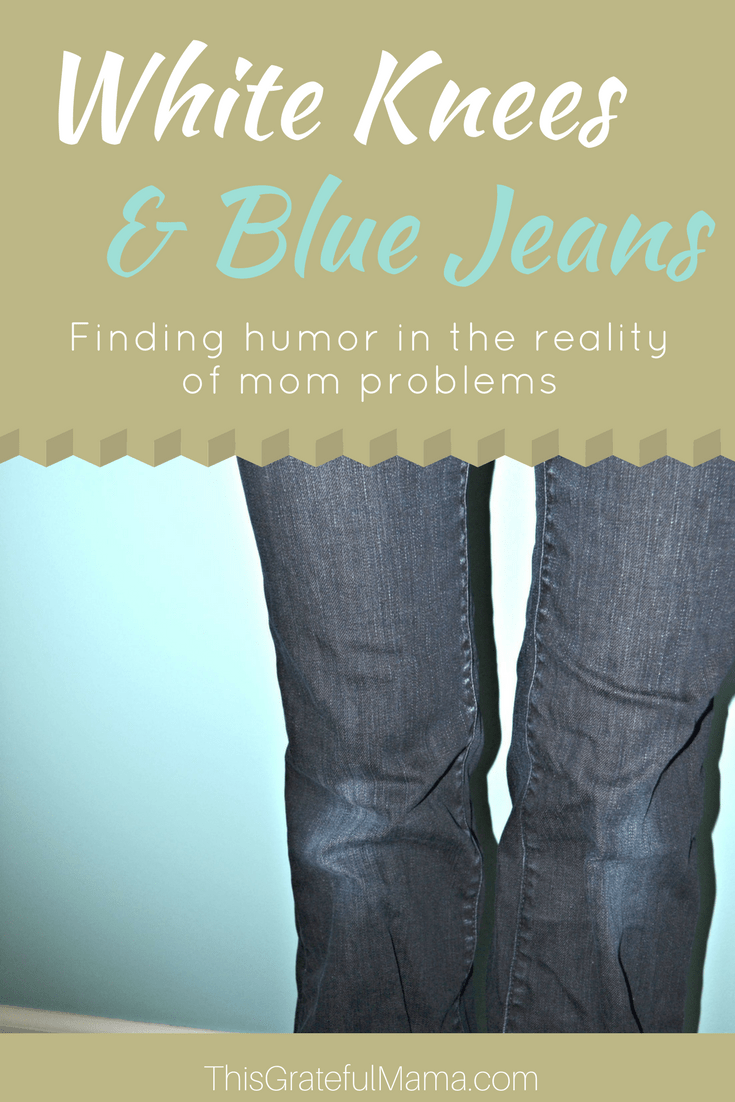 White Knees and Blue Jeans | thisgratefulmama.com As women, as moms, sometimes we need to embrace the messy reality of real life and look for the humor in mom problems. With little kids at home, I cannot keep my dark jeans dark - they constantly have white, worn out knees. #whiteknees #bluejeans #blue #navy #momproblems #mom #mother #kids #children #toddlerlife #toddler #momoftoddler #momlife #jeans #blue #white #humor #reallife