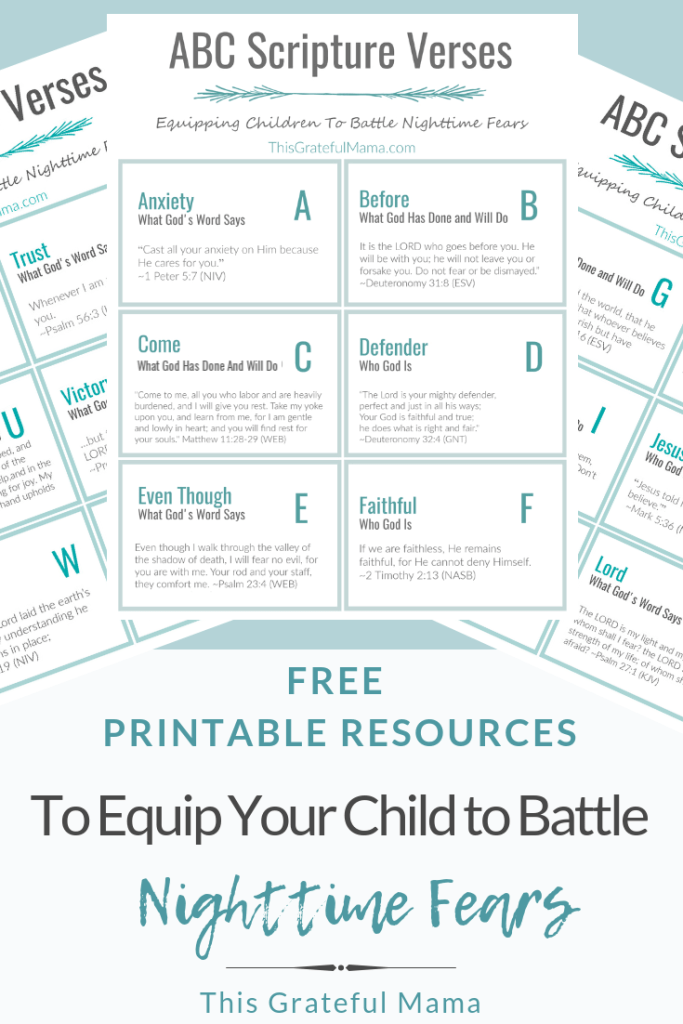 Free Printable Resources to Help Your Child Battle Nighttime Fears | ThisGratefulMama.com | Printable ABC Scripture Cards and Bible Vocabulary List for equipping children to battle nighttime fears. #fear #nighttime #children #parenting #scripture