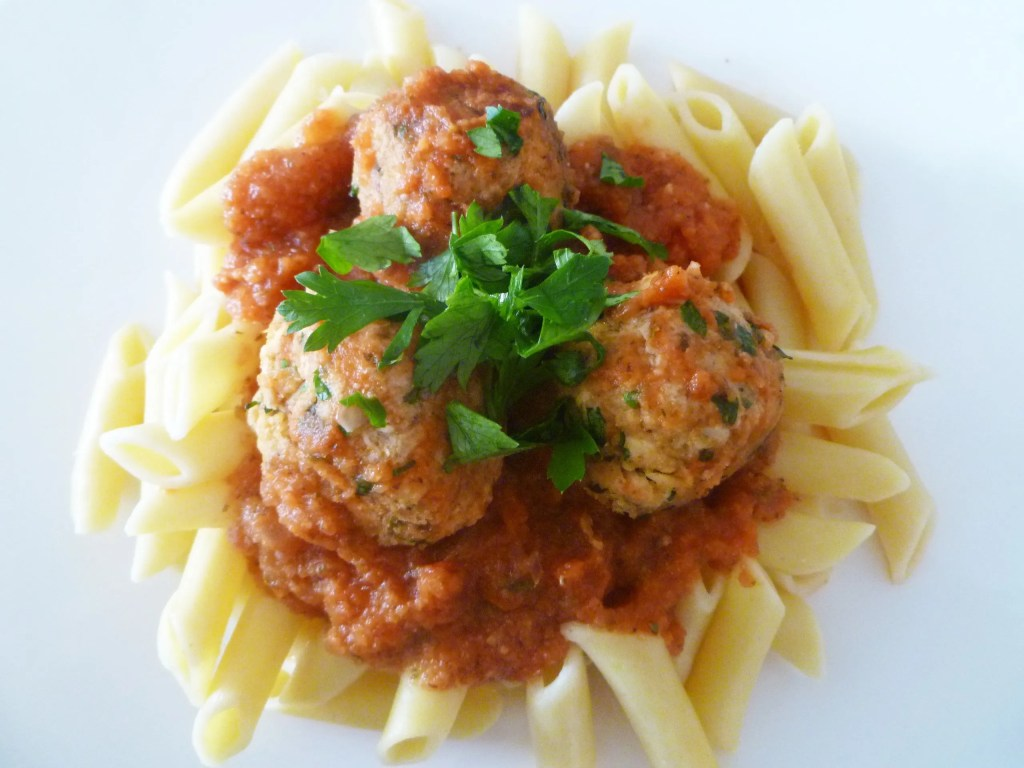 Penne Marinara with Tuna Meatballs