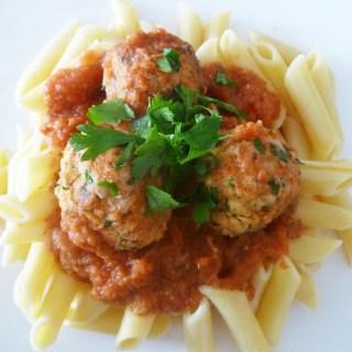 Penne Marinara with Tuna Meatballs