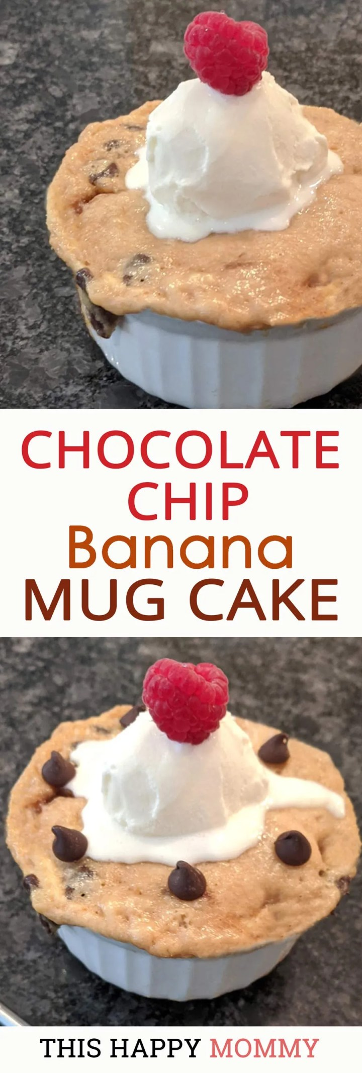 My family loves this mug cake!! If you love bananas and chocolate this is the cake for you! Chocolate Chip Banana Mug Cake is a rich, decadently chocolatey, banana cake. And it's ready in only 5 minutes.| quick and easy dessert | healthy mug cake | thishappymommy.com