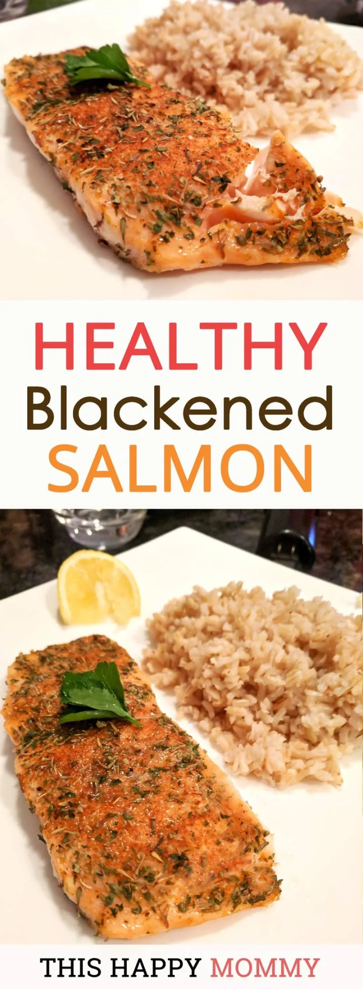 Give your salmon a boost of flavour with a blend of herbs and Cajun-style spices.In just 15 minutes, you can enjoy Healthy Blackened Salmon and it is so simple to make. Apply a quick dry rub to the salmon fillet and let it bake in the oven. That's it! | healthy fish recipes | healthy oven baked fish | quick and easy baked salmon | clean eating salmon recipes | #recipe #healthyrecipe #fish #salmon #bakedsalmon | thishappymommy.com