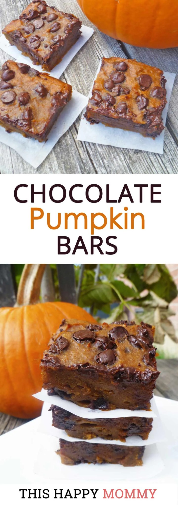 Soft, chewy and oozing chocolate chips, Chocolate Chip Pumpkin Bars are choco-pumpkin perfection. Yum! Clean Eating Desserts   Healthy Chocolate Dessert Recipes   Easy to Make Sweet Treat Desserts   Healthy Homemade Blondie   Simple and Light Dessert   Halloween Desserts   Fall Treats   #blondies #recipe #dessert #easyrecipe #pumpkin   thishappymommy.com
