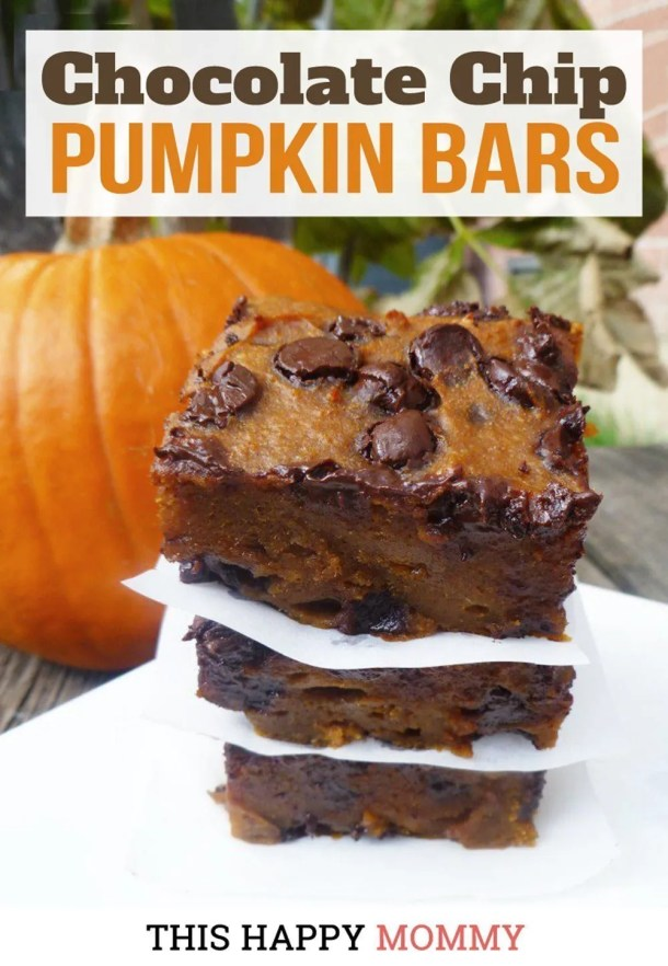 Soft, chewy and oozing chocolate chips, Chocolate Chip Pumpkin Bars are choco-pumpkin perfection. Yum! Clean Eating Desserts | Healthy Chocolate Dessert Recipes | Easy to Make Sweet Treat Desserts | Healthy Homemade Blondie | Simple and Light Dessert | Halloween Desserts | Fall Treats | #blondies #recipe #dessert #easyrecipe #pumpkin | thishappymommy.com