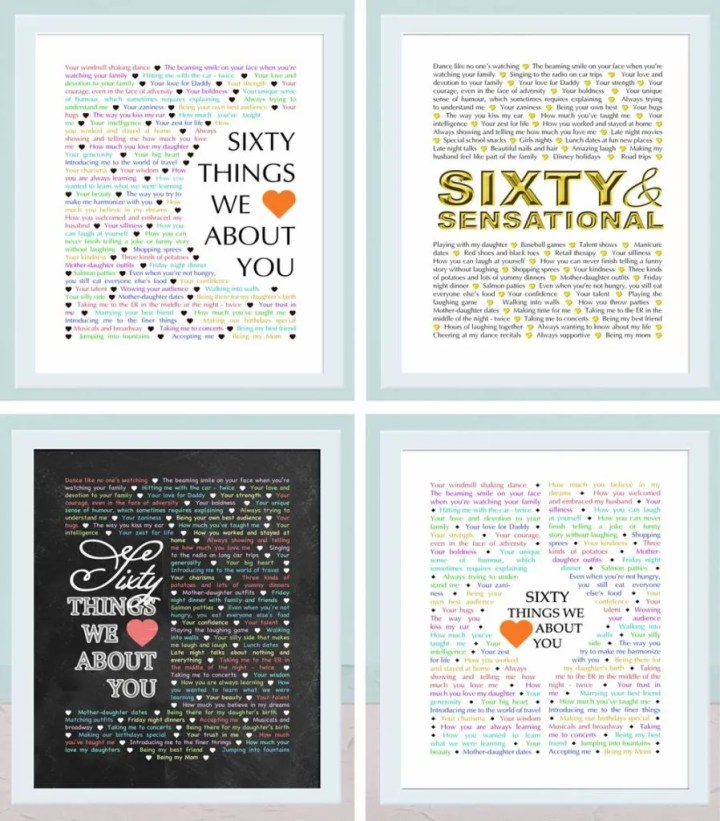 60 Things We {Love} About You -- The best homemade 60th birthday gift. | 60th birthday gift for dad | 60th birthday gift mom | birthday party gift for adults | the best 60th birthday gift #60birthday #birthdaygift #gift #diy | thishappymommy.com