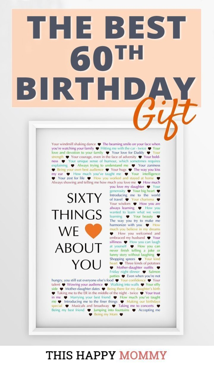 Looking for the perfect gift? Celebrate turning 60 years old with60 Things We {Love} About You. Fill it with all the reasons you love a special person. It's the best 60th birthday gift. #60birthday #gift #diy #birthdaygift #birthday | thishappymommy.com