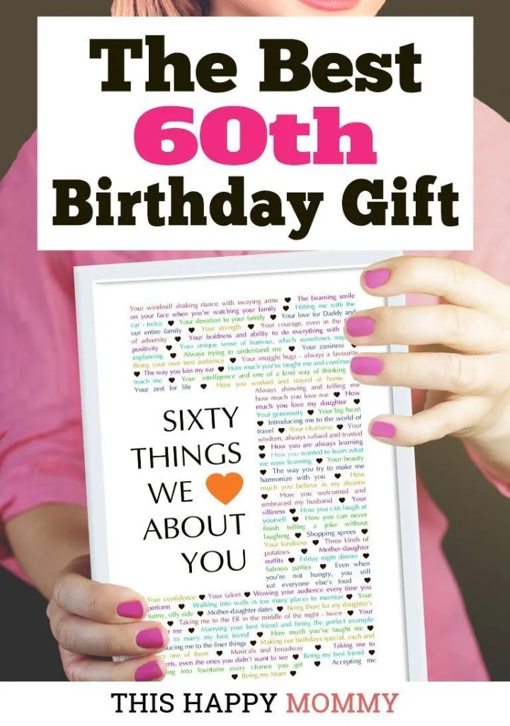 My mom LOVED this gift! We filled it with messages and memories - it was amazing. 60 Things We {Love} About You is the best birthday gift. #60birthday #gift #diy #birthdaygift #birthday | thishappymommy.com