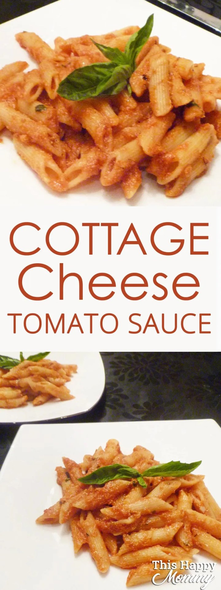 Looking for a healthy pasta sauce? Cottage Cheese Tomato Sauce is a rich and creamy tomato sauce with a hint of cheesy flavour. Plus, it's ready in only 20 minutes. #healthypastarecipe #easypastarecipe #healthy20minutemeal #quickandeasydinner #tomatosaucepastarecipe | thishappymommy.com
