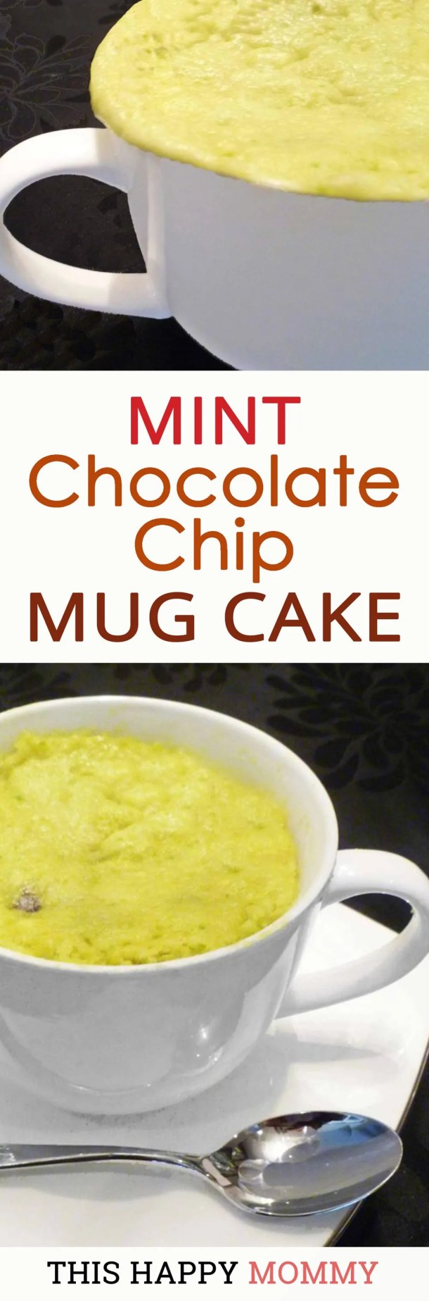 We love this cake! It's minty, chocolatey, and green! Mint Chocolate Chip Mug Cake is a light and fluffy cake filled with mint-flavored batter and perfectly melted chocolate chips. | thishappymommy.com