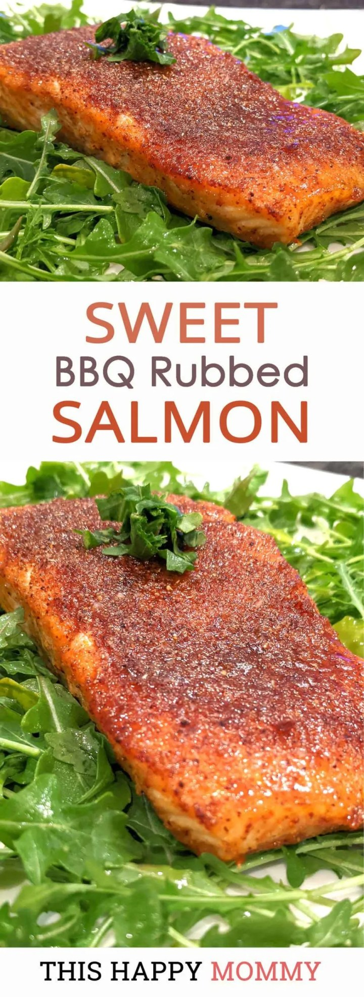 With Sweet BBQ Rubbed Salmon, you can enjoy all the flavours of the barbecue anytime of year. Rubbed with a tasty combination of sweet and savoury spices, this salmon is always a hit! | skinny salmon dinner | healthy baked salmon | #fish #salmon #dinner #recipe #easydinner | thishappymommy.com