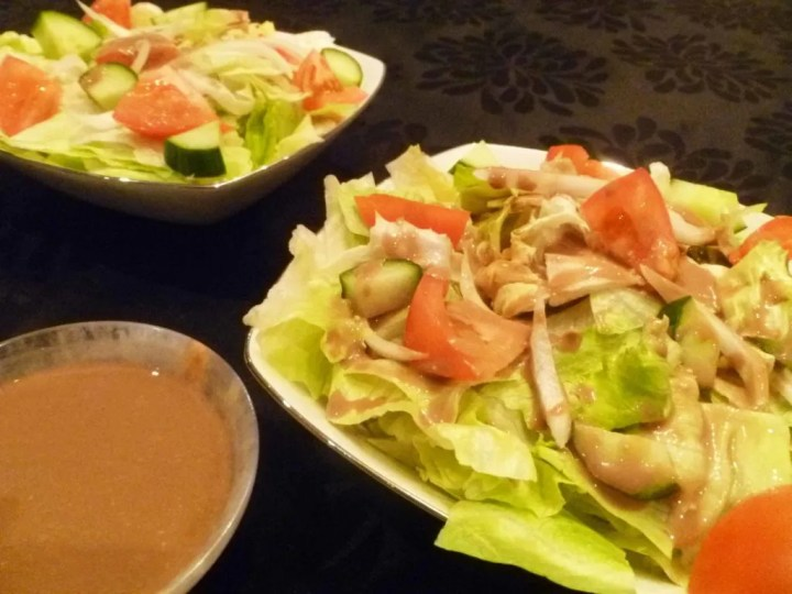 Creamy Balsamic Garden Salad -- Garden salad tossed with a rich balsamic dressing and made without oil or cream. | thishappymommy.com