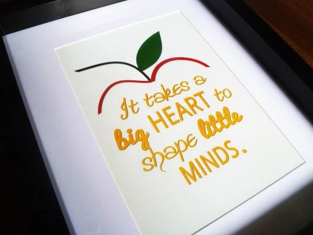 Framed Teacher Gift -- A sweet gift for preschool, nursery and elementary school teachers.   thishappymommy.com
