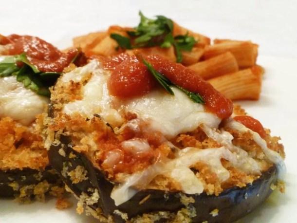 Panko Crusted Eggplant Parmesan
