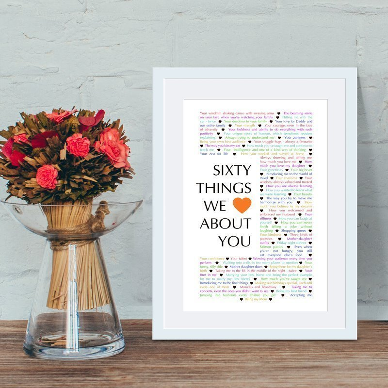 60 Things We About You The Best Homemade 60th Birthday Gift