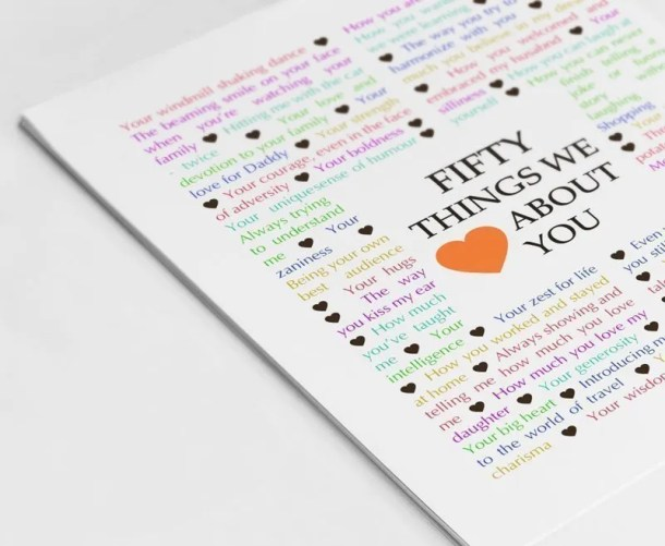 50 Things We {Love} About You -- The best DIY 50th birthday gift. | 50th birthday gift for dad | 50th birthday gift mom | birthday party gift for adults | the best 50th birthday gift #50birthday #birthdaygift #gift #diy | thishappymommy.com