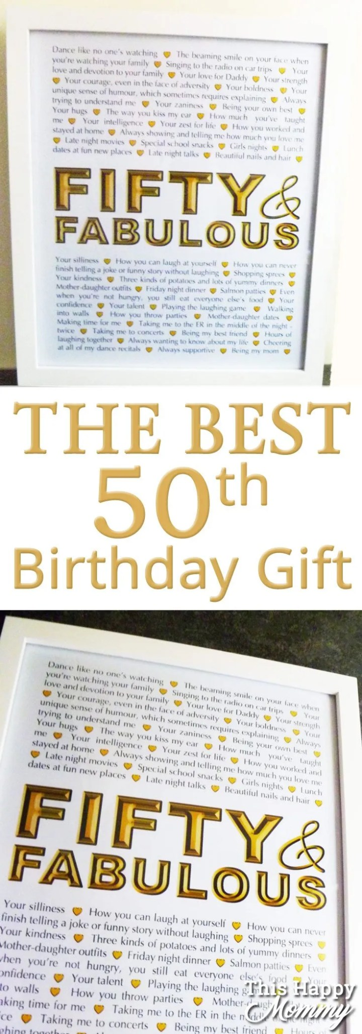 Fifty and Fabulous -- The perfect homemade 50th birthday gift. | 50th birthday gift for dad | 50th birthday gift mom | birthday party gift for adults | the best 50th birthday gift #50birthday #birthdaygift | thishappymommy.com