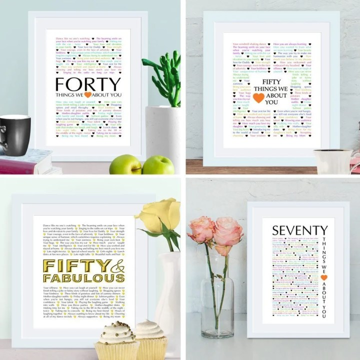 Milestone Birthday Gifts - Things We Love About You Gifts are the perfect birthday or anniversary presents. Whether it is a 40th, 50th, or 70th, these gifts are made for those special milestone occasions.| 40th birthday gifts | 50th birthday gifts | 70th birthday gifts | thishappymommy.com