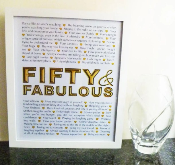 Milestone Birthday Gifts - Fifty and Fabulous -- Things We Love About You Gifts are the perfect birthday or anniversary presents. | milestone birthday gifts | 50th birthday present | 50th birthday gift | thishappymommy.com
