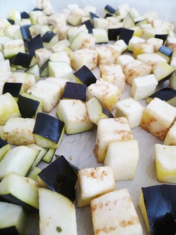 roasted eggplant quinoa -- Quinoa with roasted eggplant, tomatoes, avocado and a sweet lemon vinaigrette.   thishappymommy.com