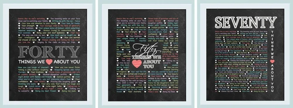 Milestone Birthday Gifts Things We Love About You Are The Perfect Or