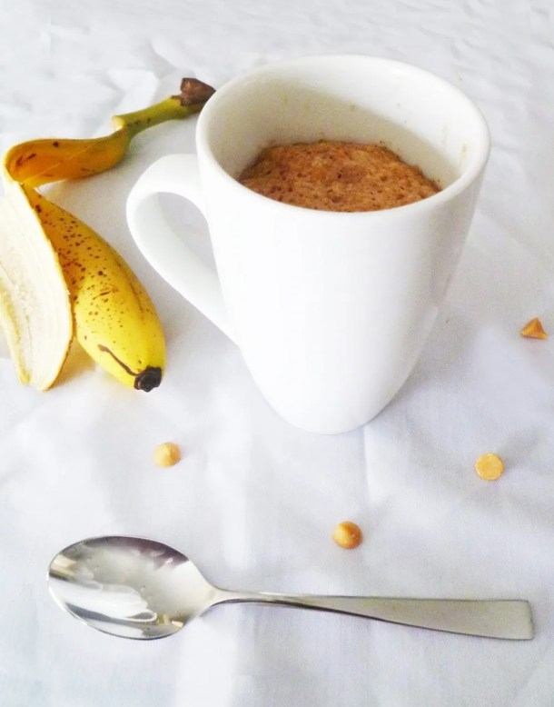Banana Butterscotch Mug Cake -- Love this single sized dessert! Banana and butterscotch are a tasty combination. | thishappymommy.com